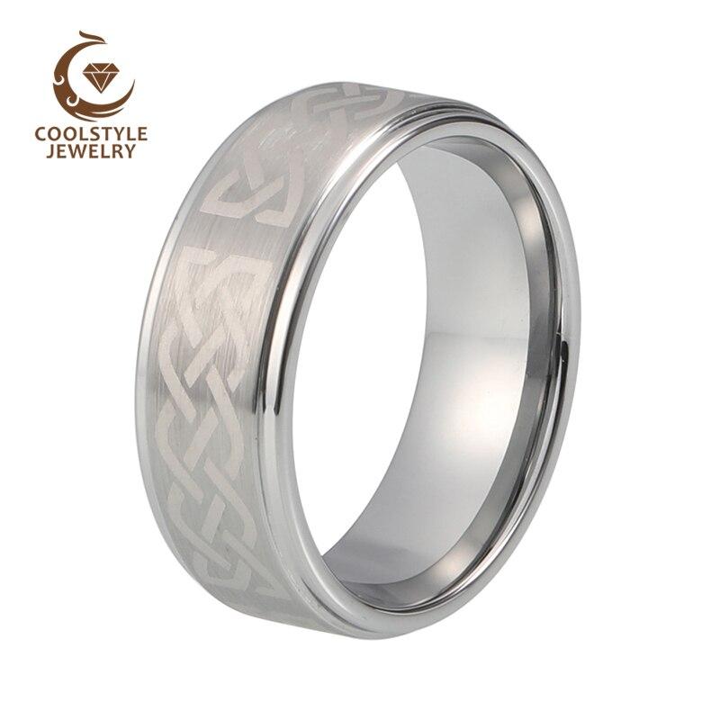 8 мм гравировкой Серебро Матовый Вольфрам обручальное кольцо из карбида Обручение Jewelry Кольцо
