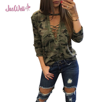 JasWell Camouflage Print Women Long Sleeve Slim Shirts Fashion Low V Neck Lace Up Lady Sexy