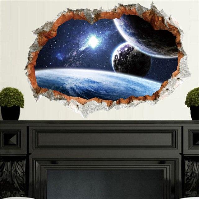 Wissenschaft Traum Weltraum Planeten Aufkleber 3d Effekt Wandtattoos