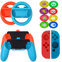 Nintend Switch Gaming Accessories Kit Steer Wheel Handle Grips Silicone Case Analog Caps for Nintendoswitch NS Joy-con 14 in 1