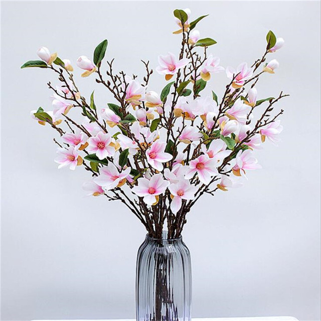 24pcs Artificial Magnolia Flower Fake Magnolia 4 Stemspiece Orchid