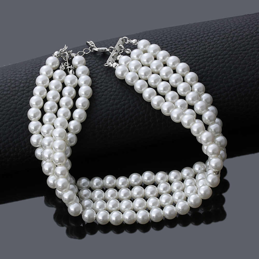 2019 Fashion Jewelry Multi Layer Chains Imitation Pearl Necklaces For Women Party Wedding Bride Necklace Collar Choker brincos