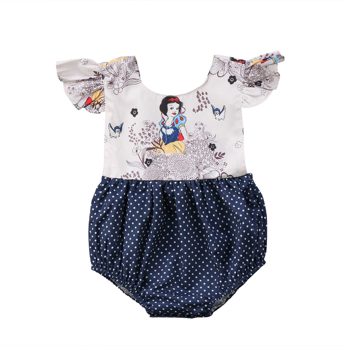82622feb47b2 2018 Newborn Baby Girls Cartoon Flying Sleeves Polka Dot Jumpsuit Bodysuit  Navy Blue Summer Outfits Clothes