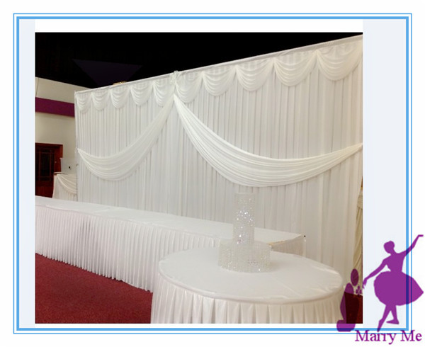 3x6m Silk Fabric Wedding Backdrop Curtain And Stainless Steel Stand For Sale