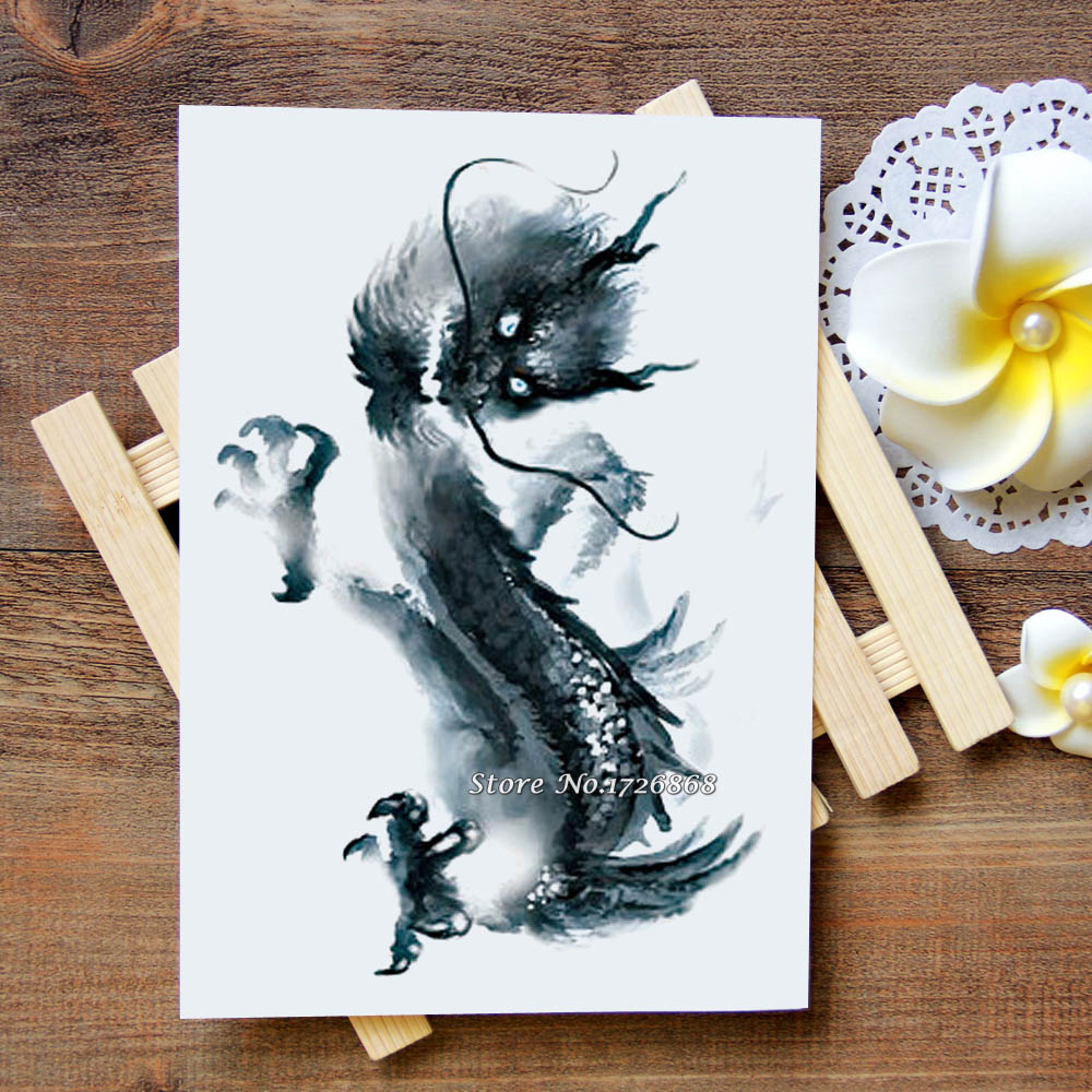 Waterproof Temporary Tattoo Sticker Ink Painting Dragon Tattoo Water Transfer Flash Tattoo Fake Tattoo For Women Men Kids #841