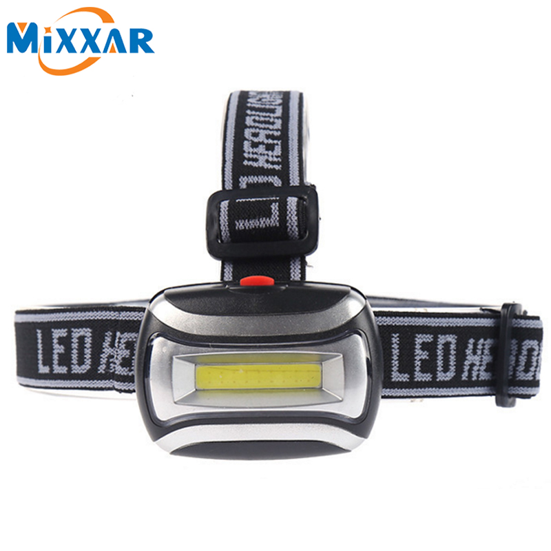 Mini COB Waterproof Plastic LED Headlight Headlamp Head Light Lamp Flashlight 3aaa Torch For Camping Hiking Fishing