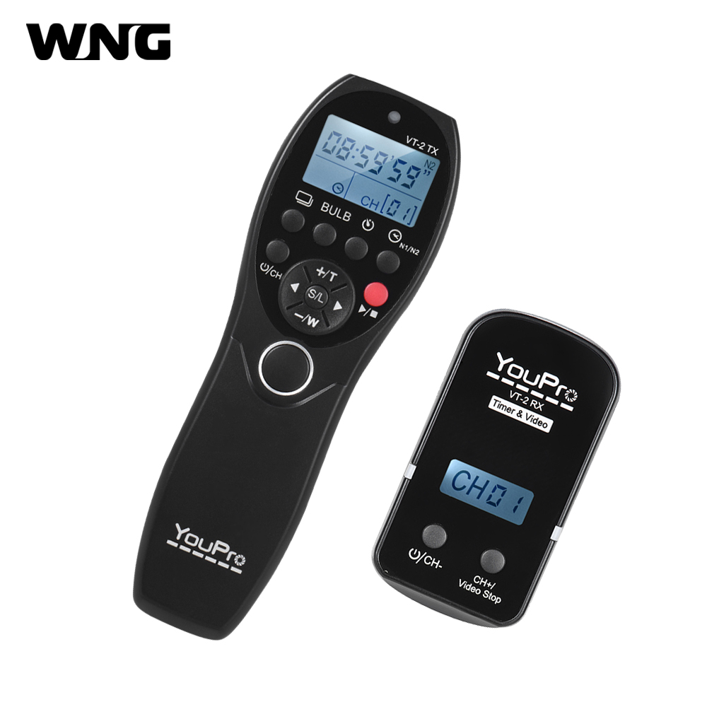 YouPro VT-2 Wireless Remote Control Commander LCD Timer Shutter Release Video Transmitter Receiver for Sony Camera Camcorder 1 2 lcd wired remote shutter release for nikon camera black