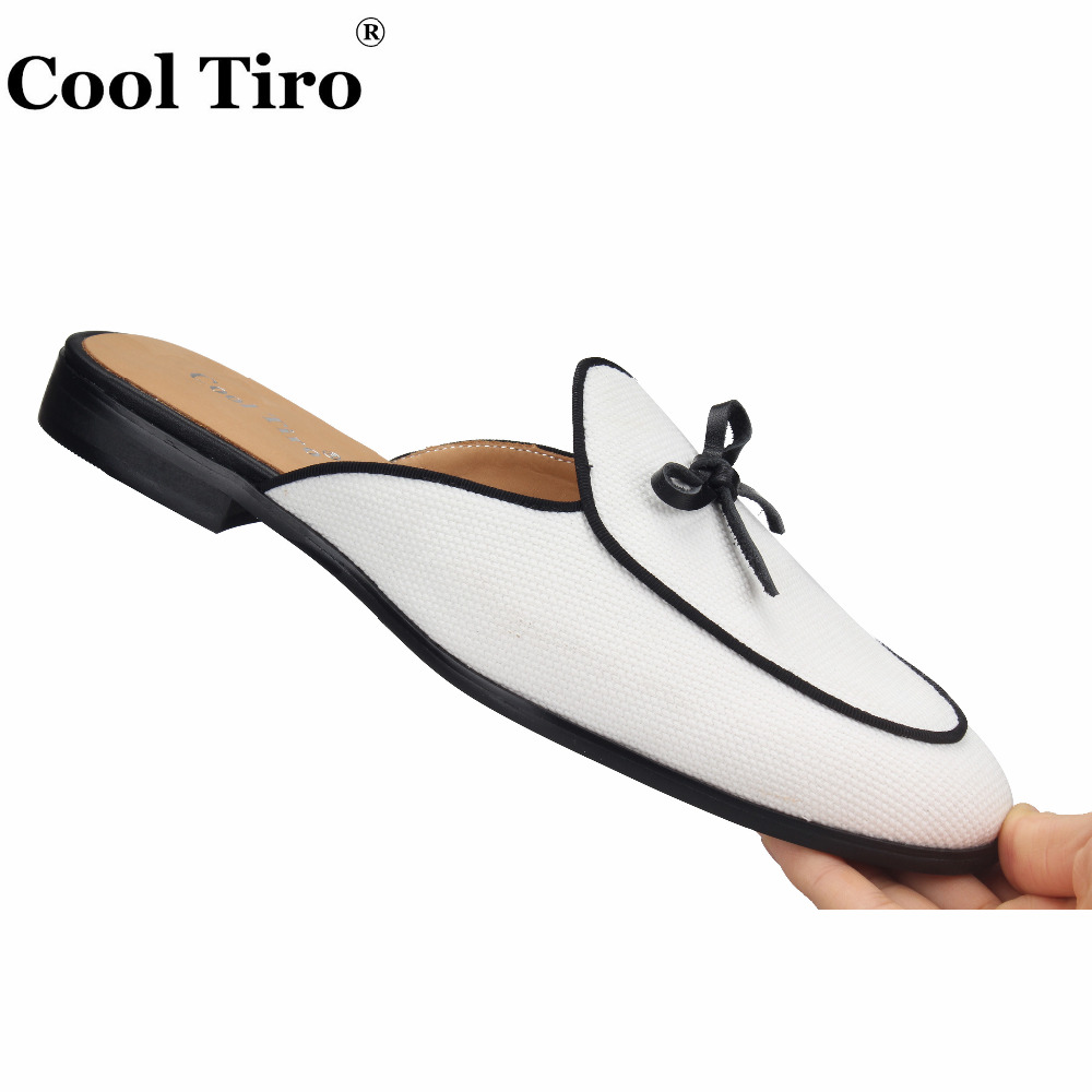 Cool Tiro White Canvas Mules Slippers Men Bow Slip-On Flats Men Handmade shoes  Casual 61e443cd44ae