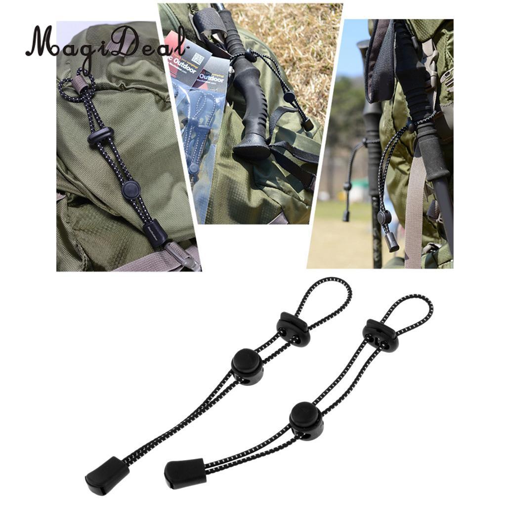 2 pièces sac à dos marche bâton support fixation boucle élastique corde marche Trekking canne dragonne extérieur