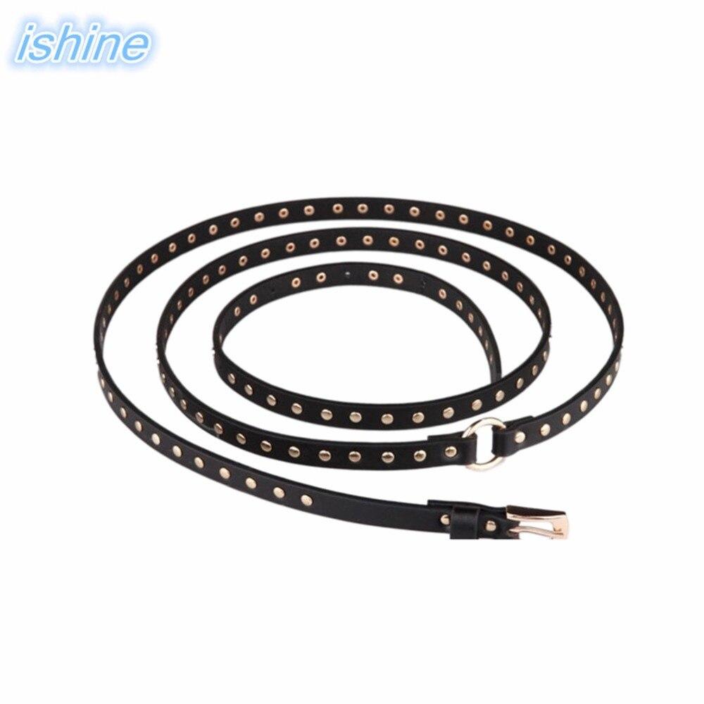 2018 New Korean Women Belts Punk Rivets PU Leather Belt Women Wild Fashion Girls Clothes Accessories Belt 200cm Wholesale