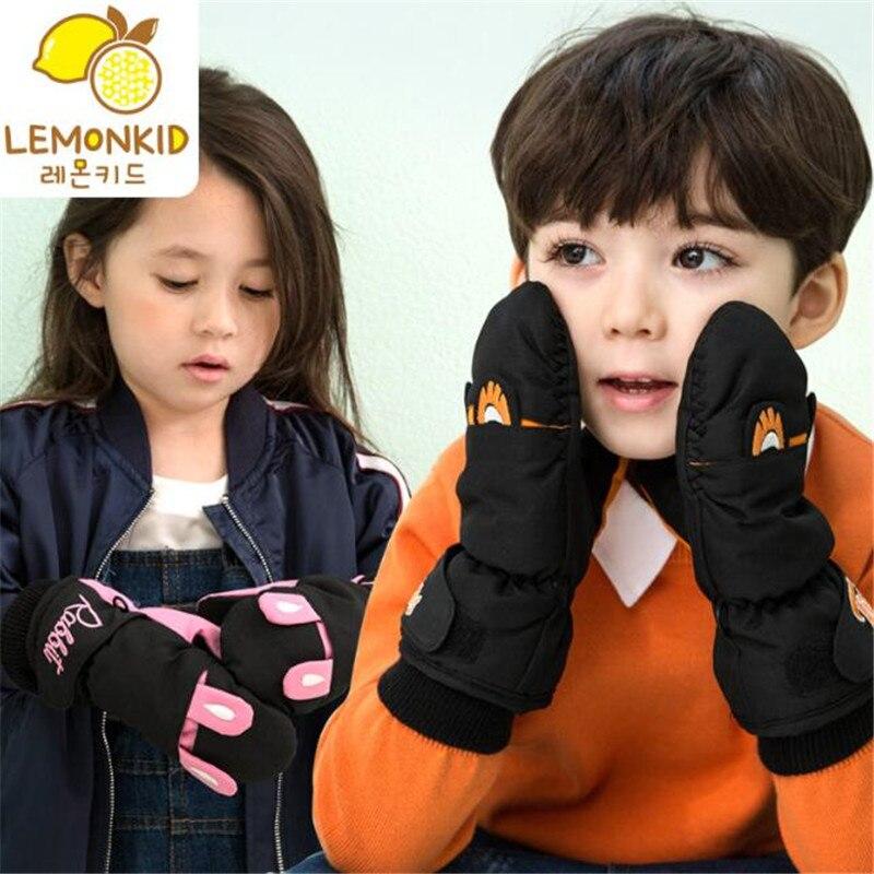Children Ski Gloves,Winter Plus Velvet Kids Girls Cute Cartoon Waterproof Windproof Non-slip Warm Boys Mittens,Fit For 3-8 Age