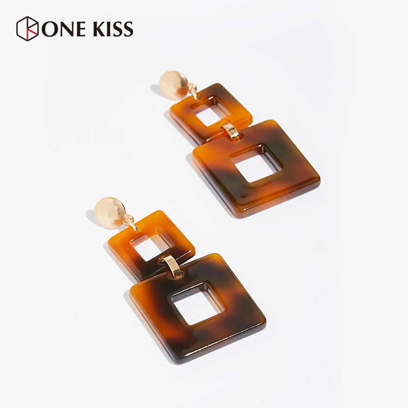 Vintage Acetic Acrylic Brown Earring Simple Square Shape Dangle Earrings 2018 Statement ZA Resin Drop Earring Jewelry For Women