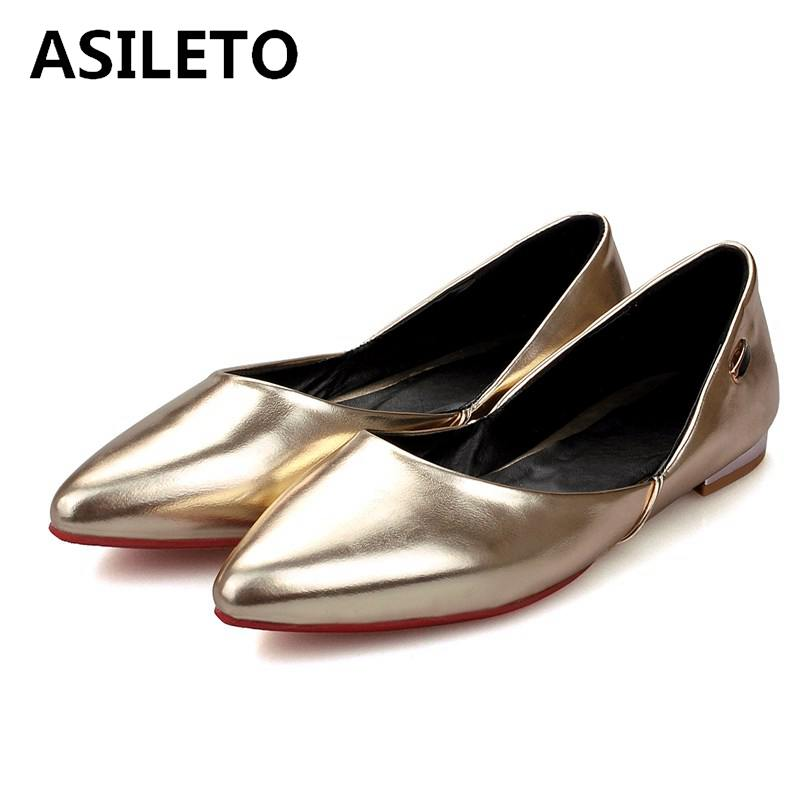 Femmes Appartements Chaussures Asileto Ballet Sapatos Bateau Creepers Gold De Souple red B469 Ballerian white Cuir Casual Mocassins En RqEnwEI5z