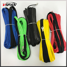 Free Shipping 15m*6mm Synthetic Winch Rope With Hook Cable Line Towing For 4WD/UTV/ATV/OFF-ROAD Accessories 7000LBS