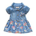 Nova Primavera Outono Denim Bebê Meninas Vestido Floral Arco Infantil Vestido de princesa de Manga Curta Casuais Crianças calças de Brim Do Bebê Vestido Da Menina roupas
