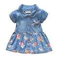 Nueva Primavera Otoño Denim Baby Girls Vestido de Flores Arco Infantil Vestido de la princesa Cabritos de la Manga Corta Ocasional Vaqueros Vestido de Niña ropa