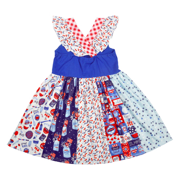 4th of July Boutique Clothes Children Sleeveless Dress Baby Remake Clothes Girls Ruffle Dresses Match Romper LYQ903-633 1