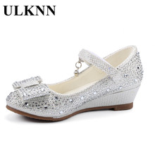 ULKNN Girls Summer Wedge Sandals Cute Princess Shoes Glitter Rhinestone Leather Butterfly Knot For Baby Kids enfant shoe