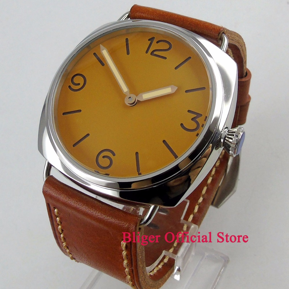 Simple big 47mm men s time watch yellow dial brown leather strap 17 jewels 6497 hand