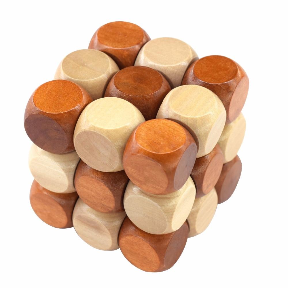 3D Wooden Puzzle Novelty Toys Educational Brain Teaser IQ Mind Game For Children Adult Snake Shape
