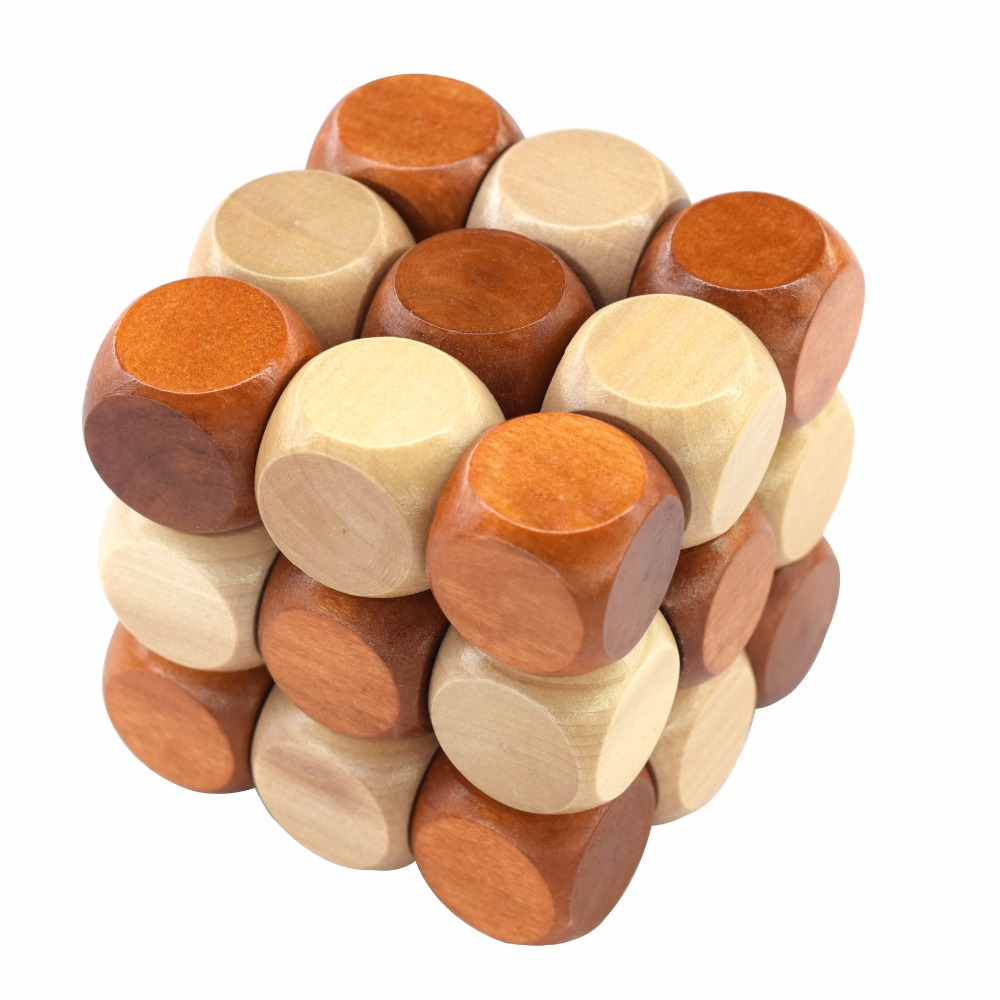 3D Wooden Puzzle Nyhet Leker Magic Cube Educational Brain Teaser IQ Mind Game For Children Adult Snake Shape