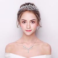 3pcs/set Cubic Zirconia Jewelry Sets Princess Bridal Wedding Crown Tiara Ornaments Simulated Pearl Choker Necklace Earrings Gift