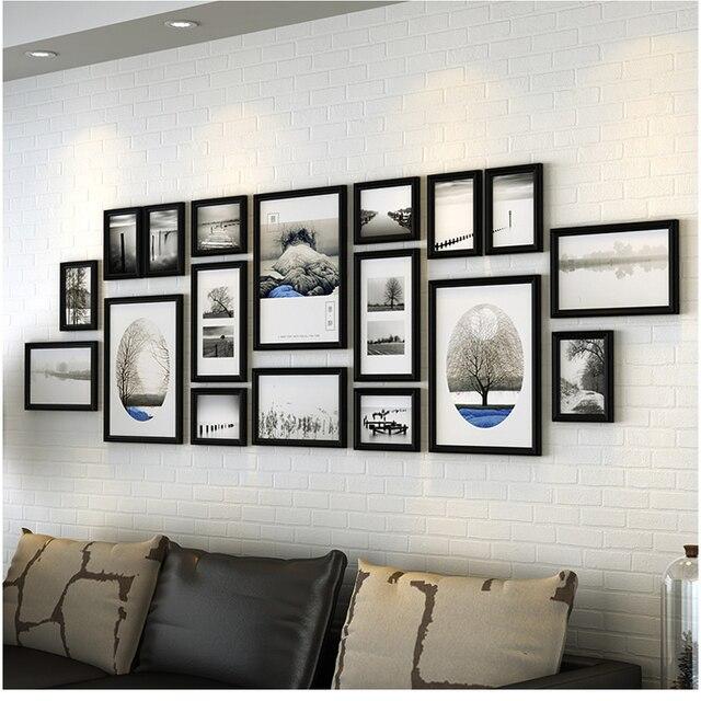 18 Stuks/set Fotolijsten Hout Frames Luxe Fotolijsten Combinatie Voor Familie Moderne Muur Fotolijsten