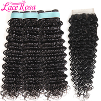 Brazilian Deep Wave Hair Human Hair Bundles With Closure 3 Bundles With Closure 4Pcs Lot Lace