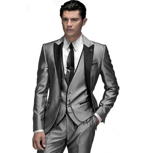 Silver Wedding Groom Tuxedos Business Party Wedding Suits Groomsmen Best Formal Suit