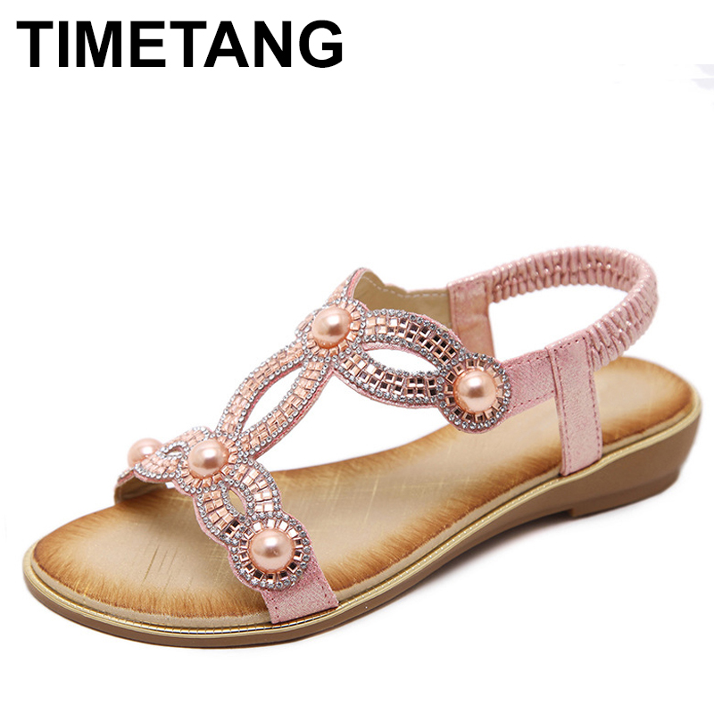TIMETANG 2019 New Fashion Casual Summer Women Sandals Flower Rhinestone Foreign Trade Large Size Flat Shoes Zapatos Mujer