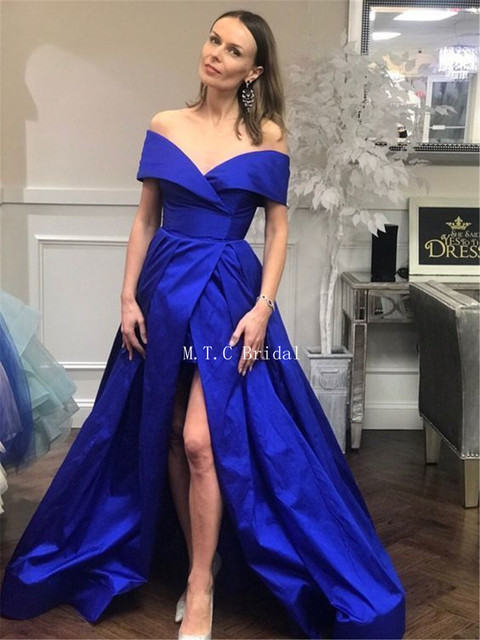 Custom Made Blue Long Dresses Prom High Split Off The Shoulder Boat Neck A Line Amazing Evening Gowns 2019 Vestido De Fiesta