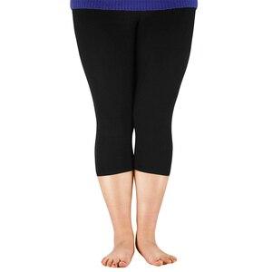 AZUE المرأة 3/4 طول طماق الخيزران الألياف زائد حجم كابري يغطي الرجل عالية بسط طماق السراويل الأساسية طماق
