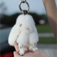 Real Mink fur keychain Cute Rabbit Doll Key Chain Charm Golf Bag Pendant Car Pendant with gift box