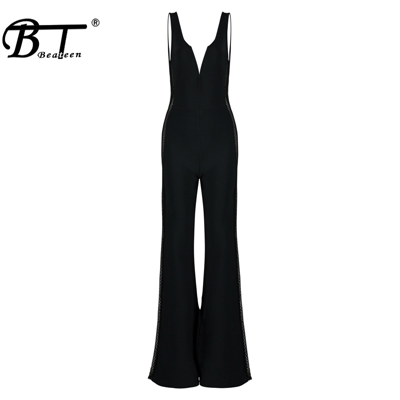 Out Bodysuits Strap V Full Black Bodycon Romper Fashion Sexy Hollow Jumpsuits Spaghetti Beateen Women Solid Deep Bandage wqI7UxP