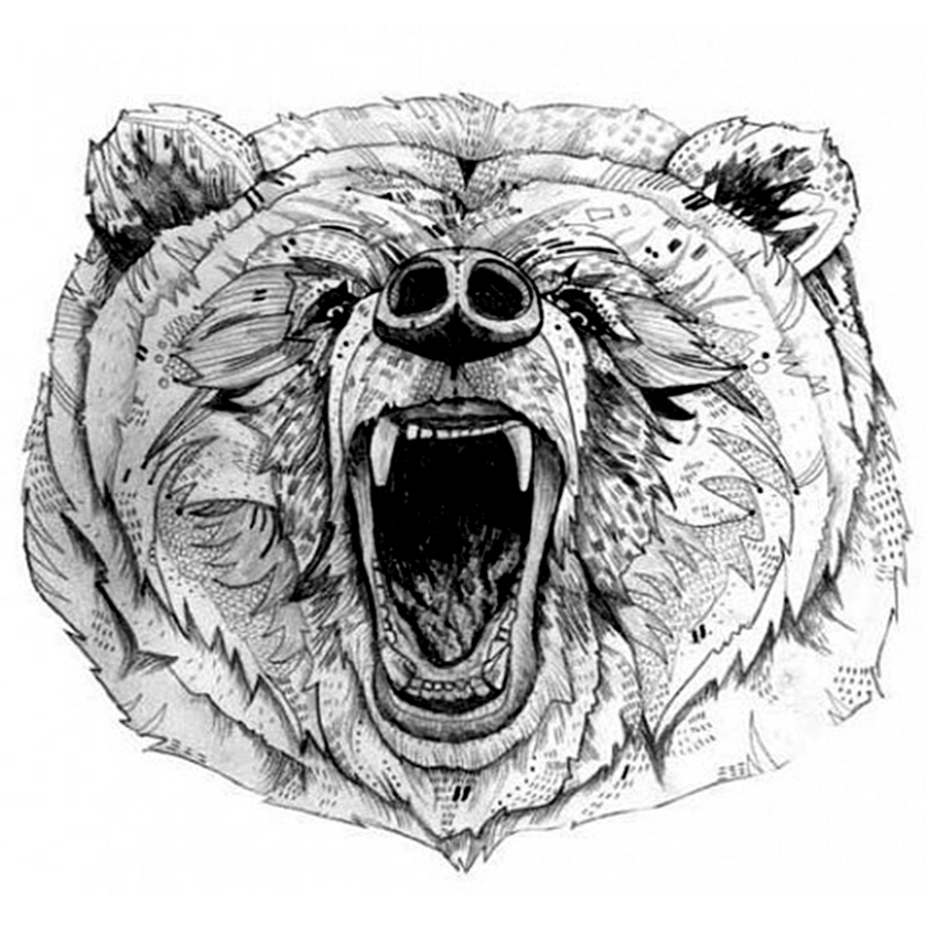 The Roaring Bear Temporary Tattoo Women Bear Tattoos Adhesive Animal Tattoo Stickers Waterproof Harajuku Tattoo Sexy Men
