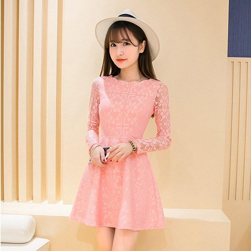 a046543bf Primavera de manga larga de encaje Rosa mini vestido mujeres elegante corto  blanco negro vestidos negro con encaje 1834QY en Vestidos de La ropa de las  ...