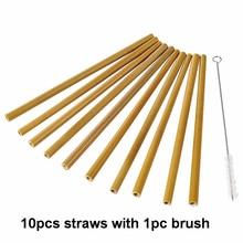 10Pcs/Set Length-20cm Bamboo Reusable Straw Organic Drinking Natural Wood Straws For Party Birthday Wedding