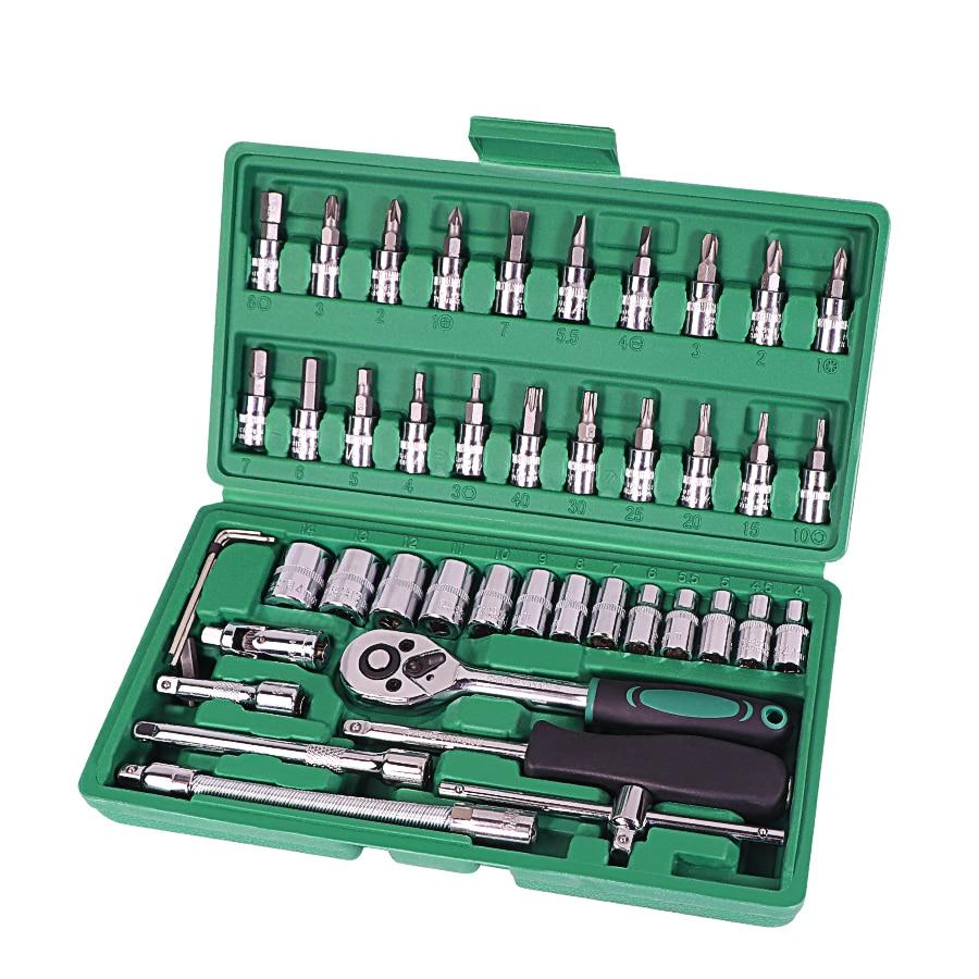 Mobil Perbaikan Alat 46 Pcs 1/4 Inci Socket Set Perbaikan Alat Ratchet Kunci Combo Alat Kit Auto perbaikan Alat Set