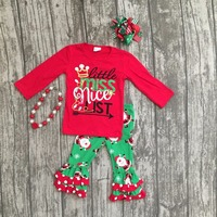 Girls Christmas New Design X Mas Outfits Baby Little Miss Nice List Red Top With Green