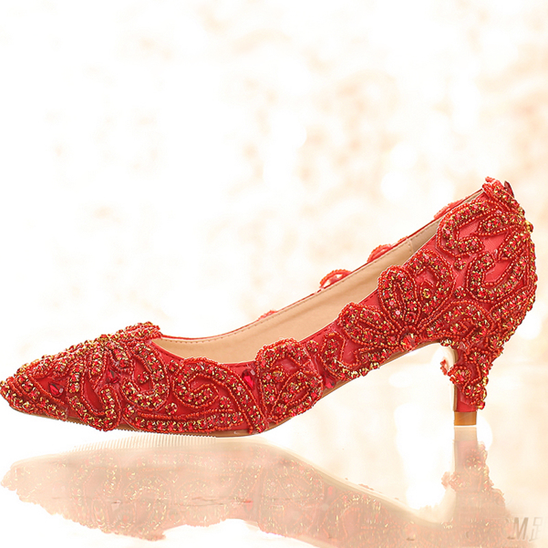 Gorgeous High Heels Pointed Toe font b Women b font Shoes Bright Formal Dress ShoesRed Color