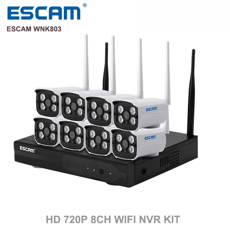 ESCAM WNK803 8ch 720P Wireless NVR kit Outdoor IR Night Vision IP Camera wifi Camera kit Home Security System Surveillance escam wnk803 720p cctv system 8ch hd wireless nvr kit outdoor ir night vision ip wifi camera security system surveillance