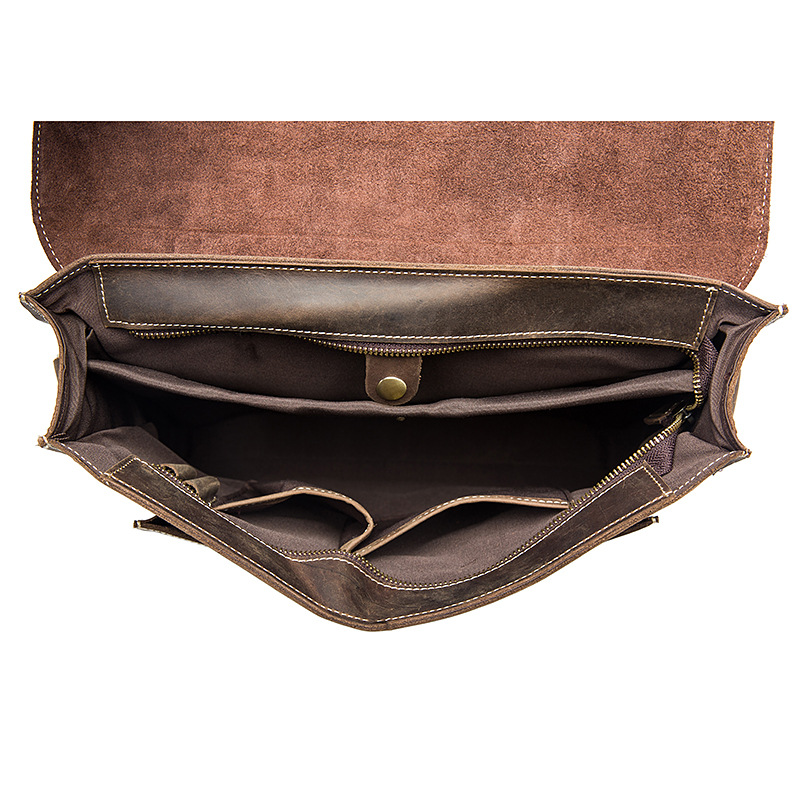 Echtem High Handtaschen Grade Brown Crazy Horse Männer Casual Vintage Coffee Aktentasche 13 Leder