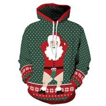 Women/Men Sport Sweatshirt Hoodies Dot Print Sportwear Christmas Santa Hoody Tops Pocket Autumn Pullover Running Hooded Sweaters