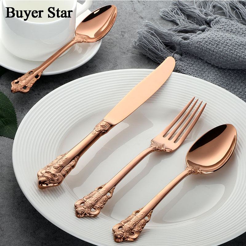 24pcs set Luxury Copper Dinnerware Set Rose Gold Plated Stainless Steel Cutlery Set Wedding Dining Knife