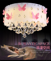 Crystal children's room lamp round ceiling master bedroom lamp girl princess warm romantic creative wedding room lamp