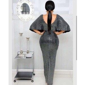 Image 3 - Zarif Payetli Akşam Elbise 2019 Kadın V Yaka Yarasa Kollu Kat Uzunluk Yüksek Bel Bodycon Maxi Elbise Yüksek Streç Partyclub
