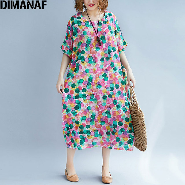39c9217b2c8 DIMANAF Women Dress Linen Plus Size 2018 Polka Dot New Summer Holiday  Casual Female Colorful Vestidos Oversized Loose Dresses