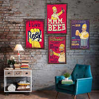 Beer Vintage Metal Tin Signs Home Bar Club Pub Metal House Decorative Metal Plates Beer Wall Stickers Simpsons Poster