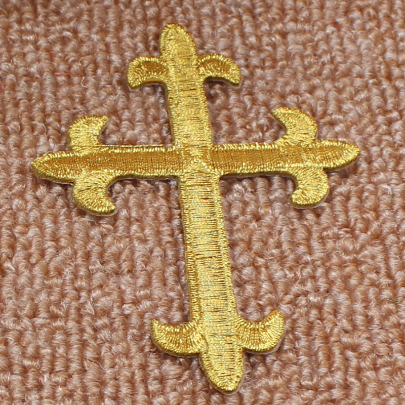 YACKALASI 5 Pcs/Lot Gold Jesus Crosses Embroidery Patches Church Appliqued Lace Trims Iron On 3D Cosplay Costume 7.5*10CM Diy