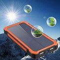 Nuevas Adquisiciones de Viaje Impermeable Banco de la Energía Solar 12000 mAh Solar Dual USB powerbank Cargador de Batería con Soporte para Teléfono